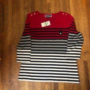 Karen Scott Printed 3/4-Sleeve Sweatshirt Striped